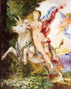 Na mitologia grega, Europa era filha do rei da Fenícia, Agenor, e irmã de Cadmo. Foi raptada por Zeus que disfarçou-se de touro para que sua ciumenta mulher, Hera, não percebesse. Ele levou Europa para Creta, onde desembarcou na praia de Matala, o que levou Cadmo a procurá-la e, na jornada, fundar a cidade de Tebas. Em Creta, Europa teve três filhos: Minos, Radamanto e Sarpedão.