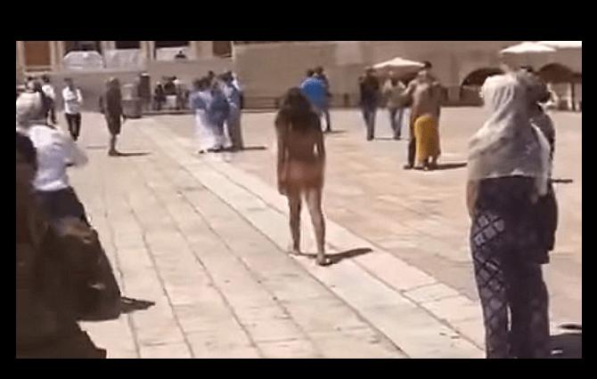 'Vídeo: mulher fica nua no Muro das Lamentações e é presa.'